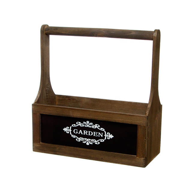 Chalkboard Wooden Carry Tote Brown (27x11.5x28cmH)