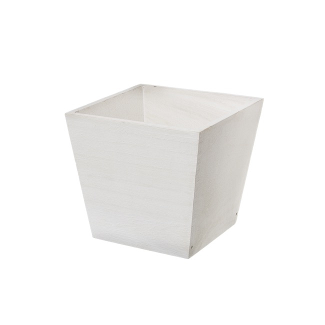 Wooden Planters Pot Covers - Wooden Planter Pot Signature White (15x15x14cmH)