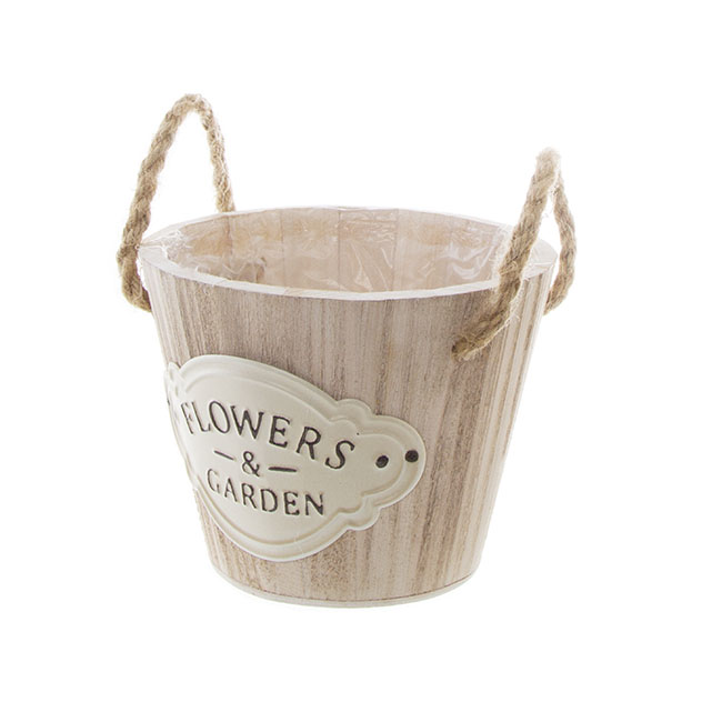 Wooden Planters Pot Covers - Nature Touch Wooden Bucket Planter (17cmDx13cmH)
