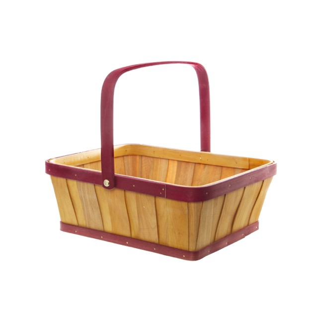 Two Tone Wood Basket Rectangle Natural & Red (30x25x11cmH)