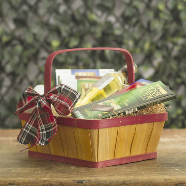 Hamper Tray & Gift Basket - Two Tone Wood Basket Rectangle Natural & Red (30x25x11cmH)
