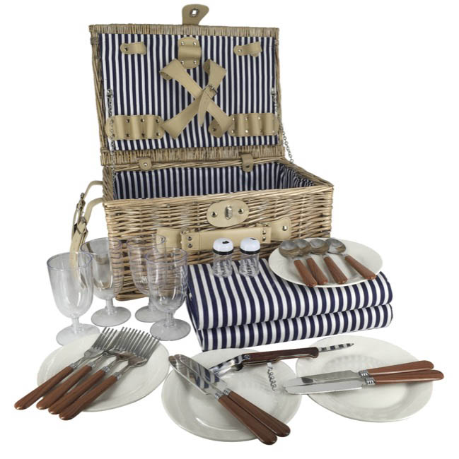Picnic Baskets - Picnic Basket Chest Premium 4p Cutlery Natural (40x28x19cmH)