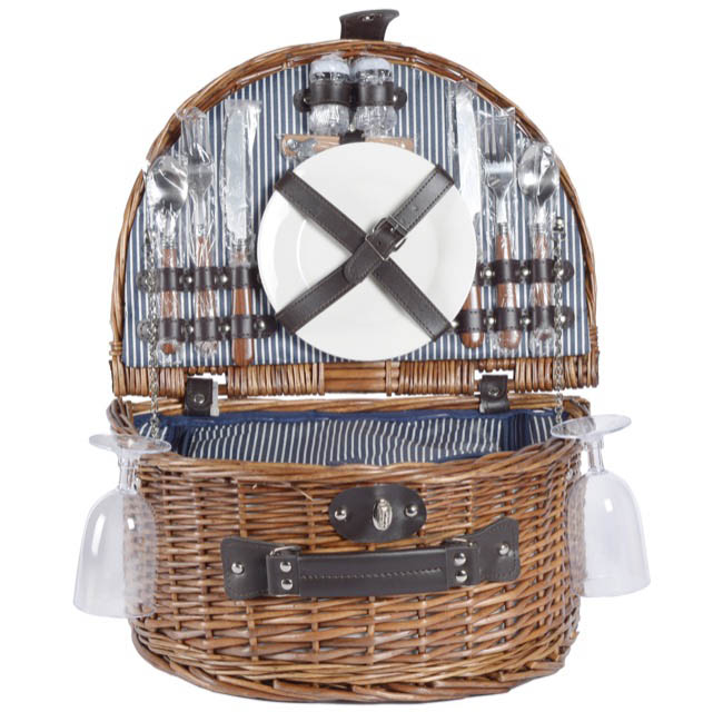 Picnic Baskets - Picnic Basket 2 Person With Cutlery Brown (40x30x19cmH)