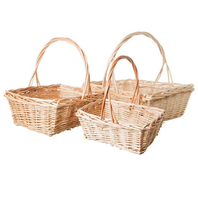 Willow Basket Rectangle Set of 3 Natural (39x33x14cmH)