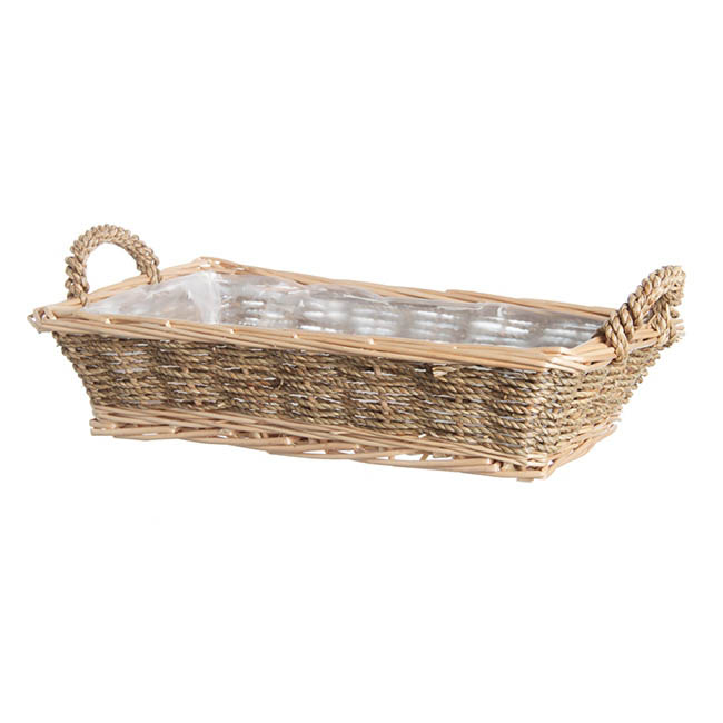 Hamper Tray & Gift Basket - Seagrass Willow Tray Rectangle Natural (33x20x8cmH)