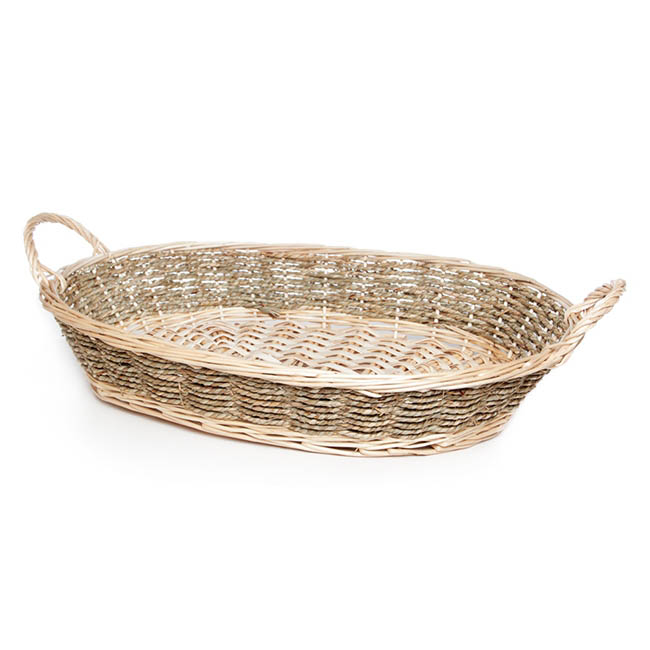 Hamper Tray & Gift Basket - Seagrass Willow Duo Tray Oval Large Natural (51x36.5x10cmH)