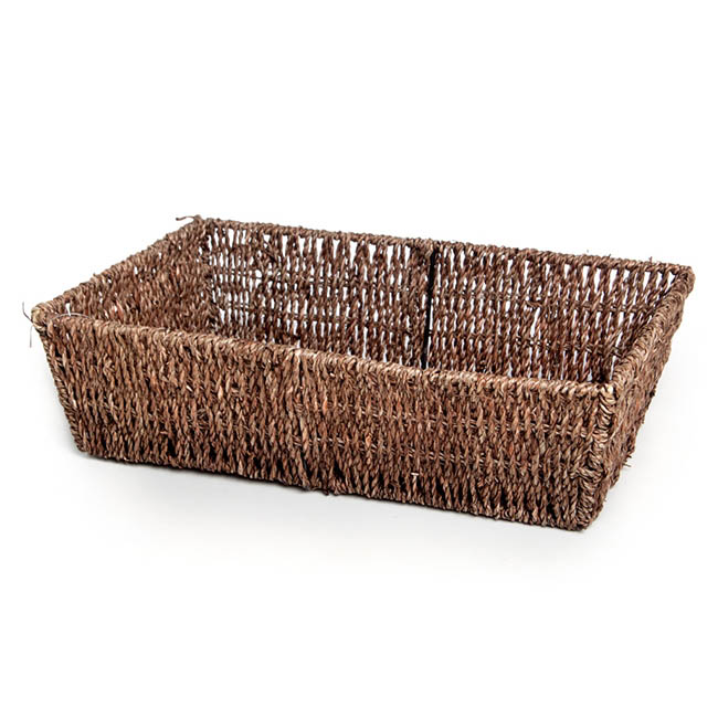 Hamper Tray & Gift Basket - Seagrass Tray Rectangle Dark Brown (38x26x10cmH)