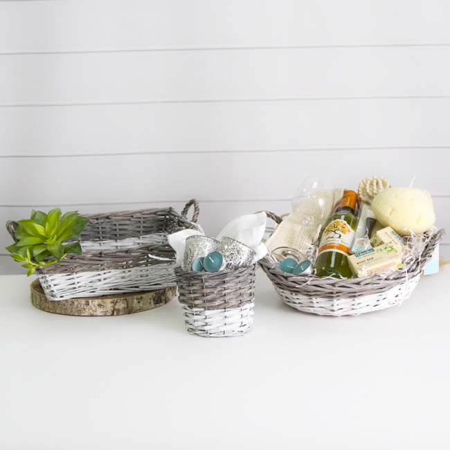 Storage Baskets & Boxes - Two Tone Willow Basket Round Grey and White (35cmDx10cmH)