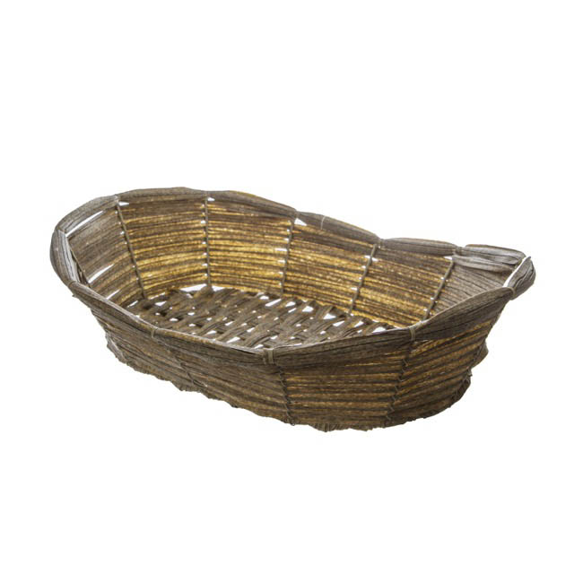 Artificial Woven Hamper Oval Pewter (39X29X8/10cm)