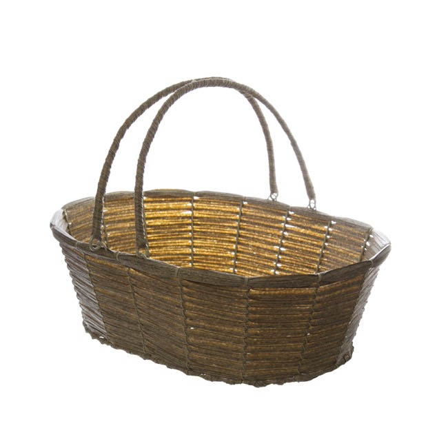 Hamper Tray & Gift Basket - Wicker Basket PVC Hamper Oval Pewter (41X30X13cm)