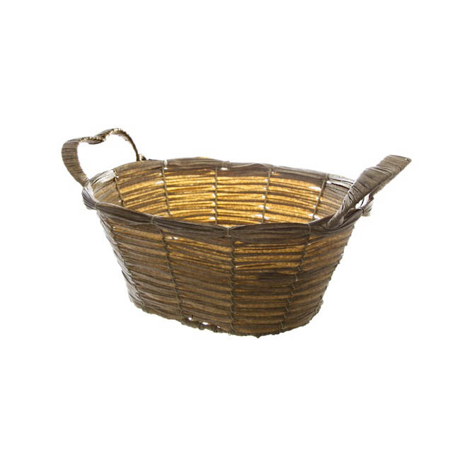 Hamper Tray & Gift Basket - Wicker Basket PVC Hamper Oval Pewter (30X24X13cm)