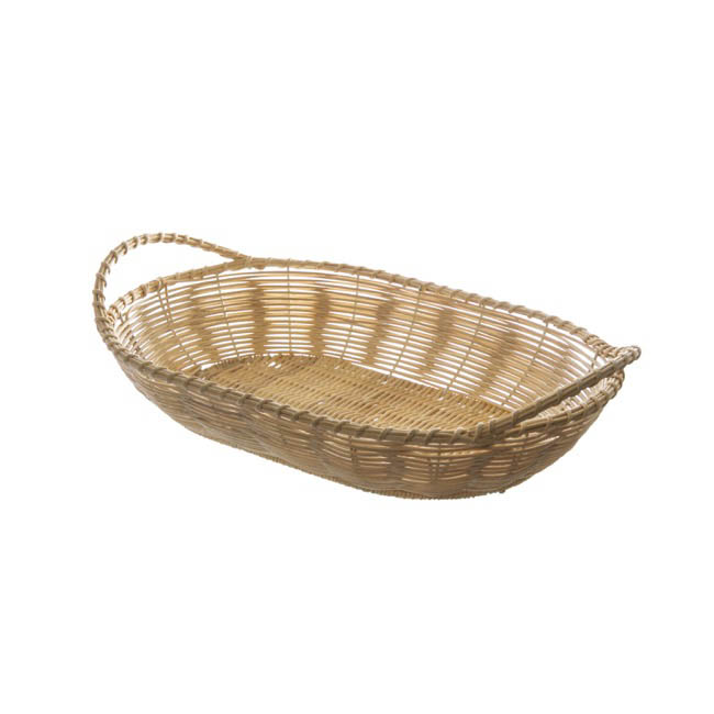 Hamper Tray & Gift Basket - Artificial Rattan Tray Oval Natural (29.5X18.5X6cm)