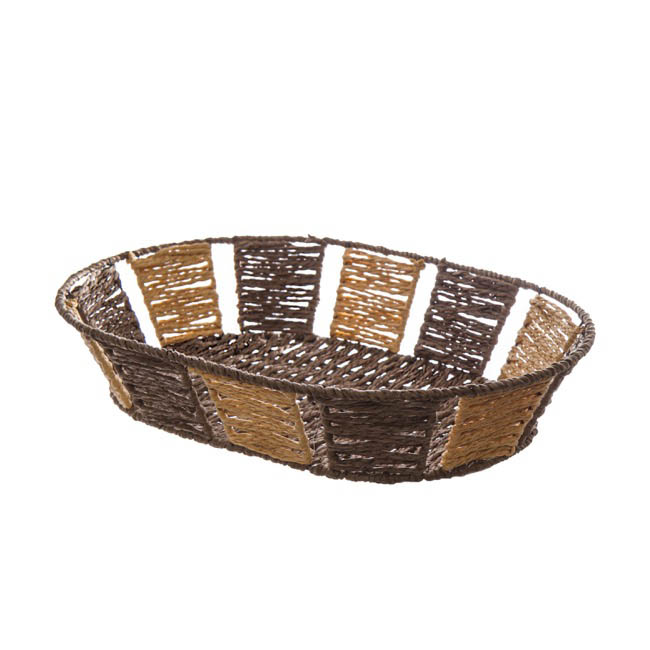 Hamper Tray & Gift Basket - Two Tone Oval Paper Rope Tray Yellow/Brown (39X28X8cm)