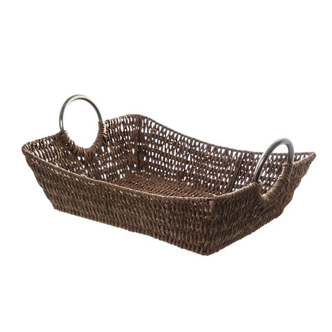 Hamper Tray & Gift Basket - Paper Rope Tray w Metal Handles Rectangle Brown(34x27x9cm)