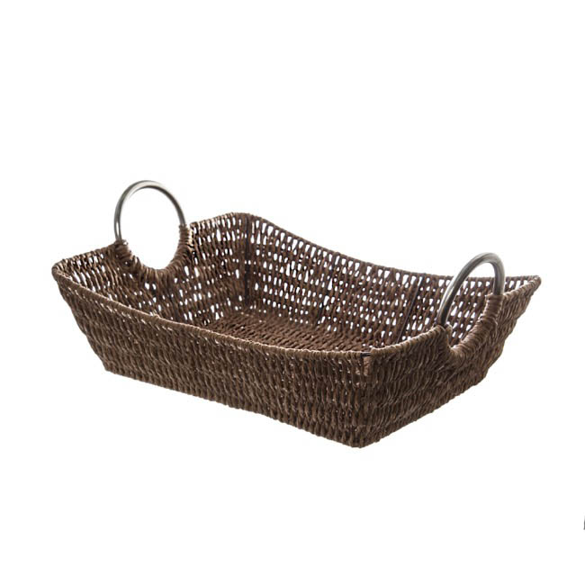 Hamper Tray & Gift Basket - Paper Rope Tray with Metal Handles Rectangle Brown(28x21x7cm