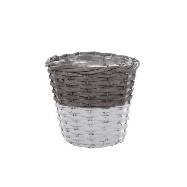 Flower Planter Pots - Two Tone Willow Planter Round Grey and White (15cmDx13cmH)