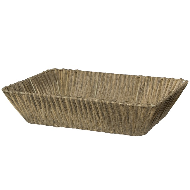 Hamper Tray & Gift Basket - Artificial Wicker Basket Hamper Rectangle Brown (37X27x9cmH)
