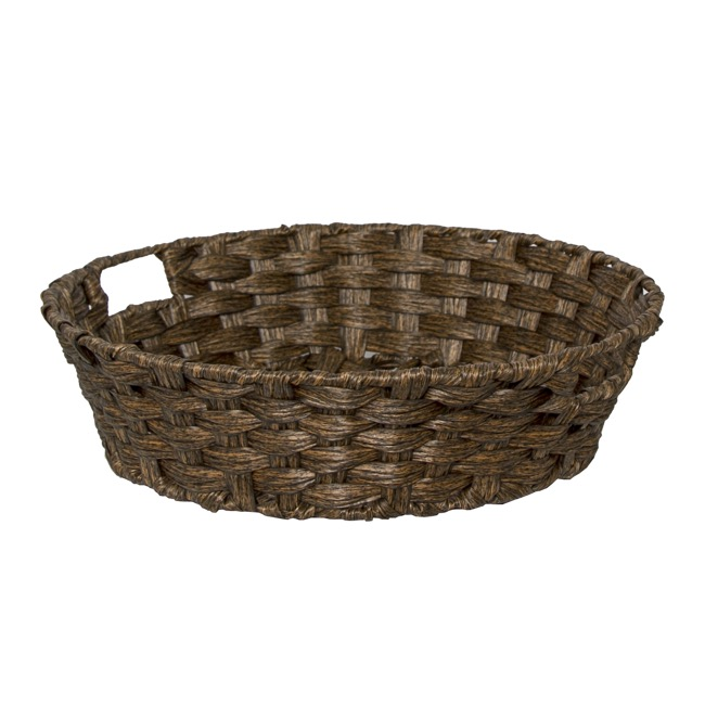 Hamper Tray & Gift Basket - Wicker Basket PVC Hamper Round Dark Brown (38Dx10cmH)