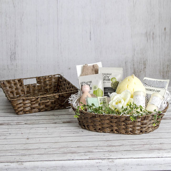 Hamper Tray & Gift Basket - Artificial Wicker Basket Hamper Oval Dark Brown(42x31x10cmH)