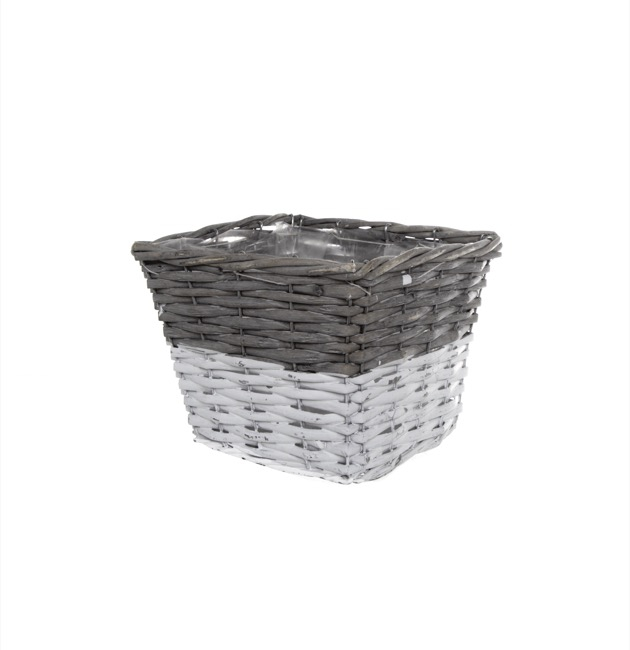 Two Tone Willow Planter Square Grey and White (20x20x14cmH)