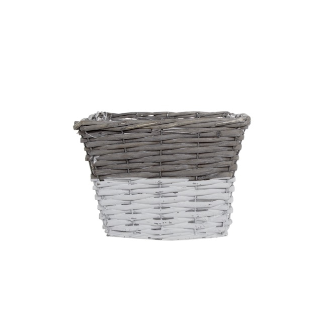 Flower Planter Pots - Two Tone Willow Planter Square Grey and White (20x20x14cmH)