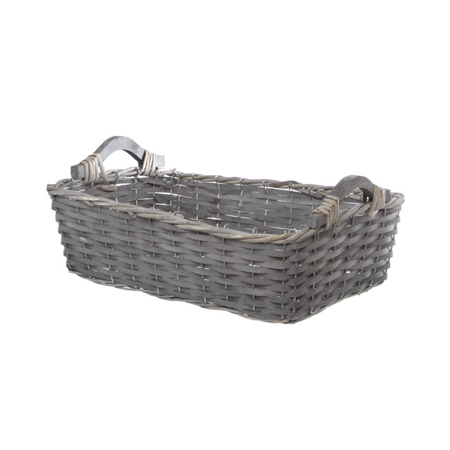 Natural Woven Basket Rectangle Grey Wash (41x29x12cmH)