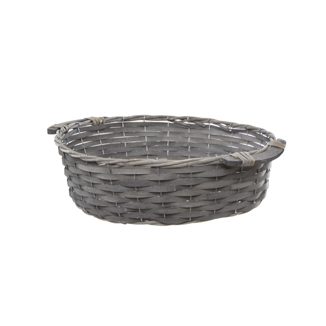 Storage Baskets & Boxes - Natural Woven Basket Round Grey Wash (40cmDx12cmH)