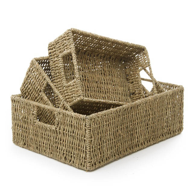 Hamper Tray & Gift Basket - Seagrass Tray Rectangle Set of 3 Natural (40x30x14cmH)