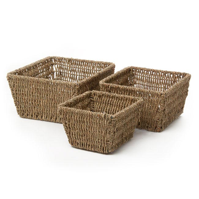Flower Planter Pots - Seagrass Planter Square Set of 3 (21x21x12cmH)