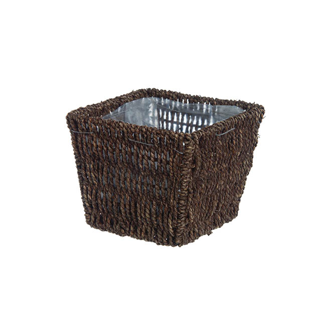 Flower Planter Pots - Seagrass Planter with Liner Square Brown(17.5x17.5x14cmH)