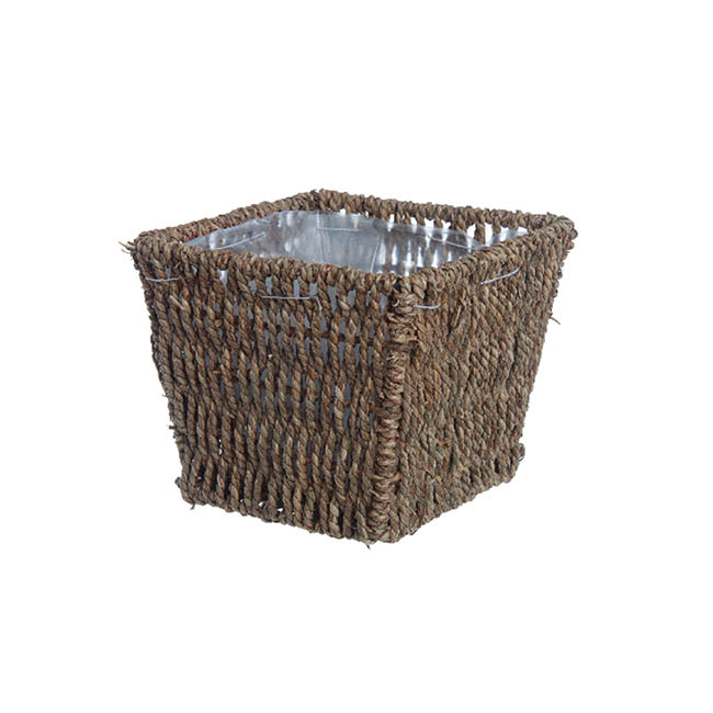 Flower Planter Pots - Seagrass Planter with Liner Square Natural (17.5x17.5x14cmH)