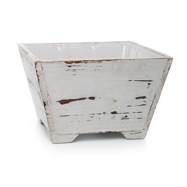 Wooden Pastel Planter Squ. with PVC Liner 19x19x12cmH White