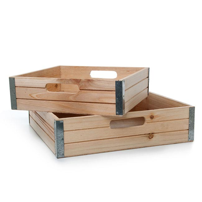 Wooden Crates & Boxes - Wooden Gourmet Tray Set 2 35x35x9cmH Natural