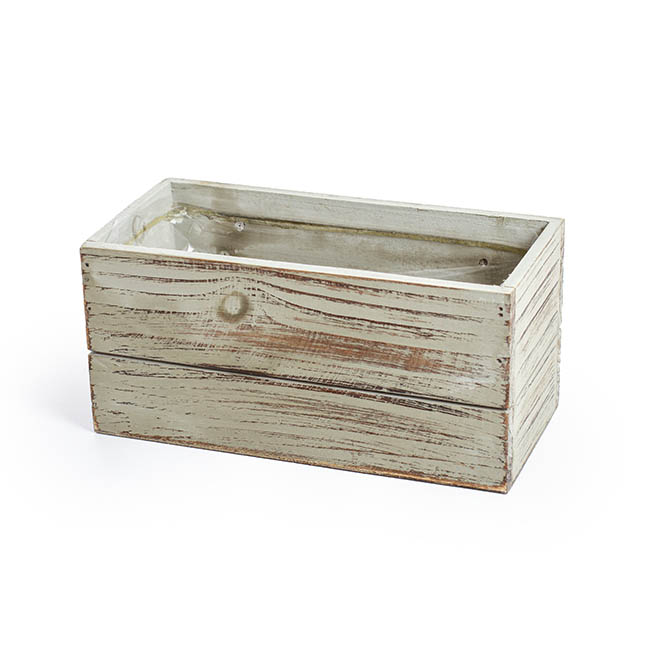 Wooden Fence Pailing Box Rectangle Grey Wash (25x12x12cmH)