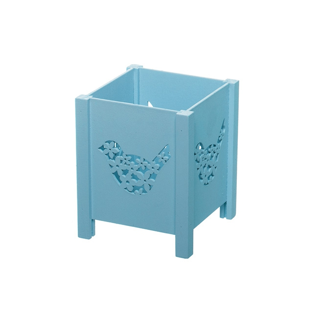 Wooden Planter with Bird Cut Out Blue (11x11x13.5cmH)