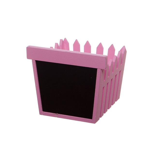 Wooden Fence Planter with Blackboard Hot Pink (14x12.5x12cmH