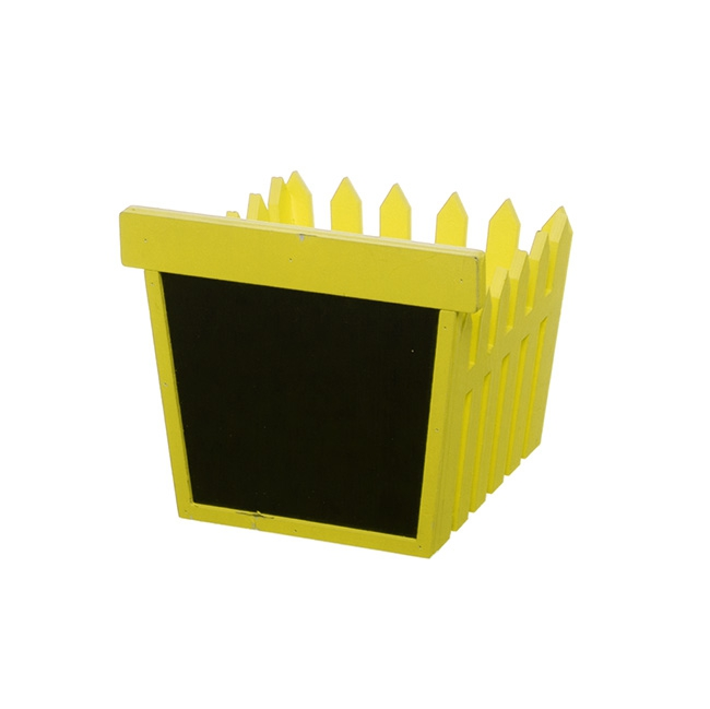 Wooden Fence Planter with Blackboard Yellow (14x12.5x12cmH)