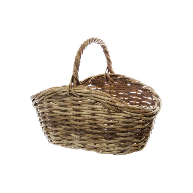 Hamper Tray & Gift Basket - Cane Woven Basket Oval Natural (34x22x11/16cmH)
