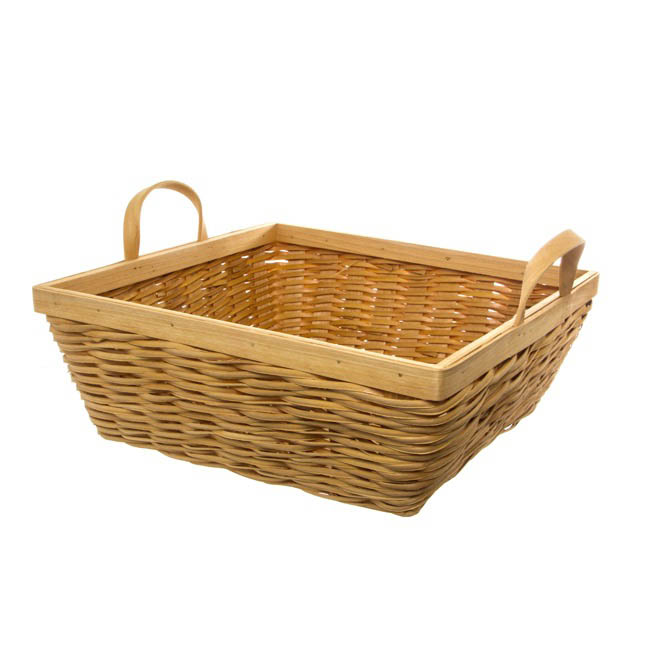 Woven Hamper Basket Square Natural (35x35x13cmH)