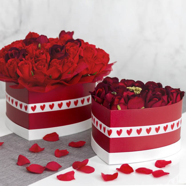 Gift Boxes Sets & Hat Boxes - Gift Flower Box Heart Shape Blood Red White Lid(28x15cmH)S 2
