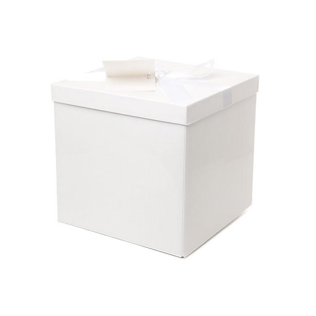 Gift Box and Lid - Flat Pack Gift Box Large Flat Pack White (224x224x215mmH)