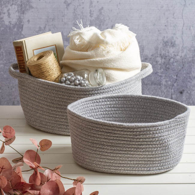 Hamper Tray & Gift Basket - Cotton Fabric Storage Basket Oval Large Grey (32x21x14cmH)