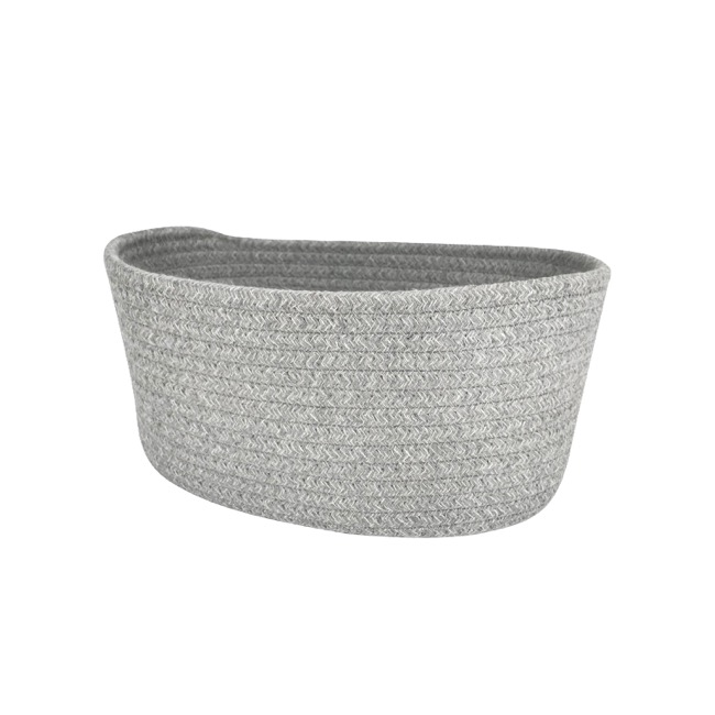 Hamper Tray & Gift Basket - Cotton Fabric Storage Basket Oval Medium Grey (27x18x13cmH)