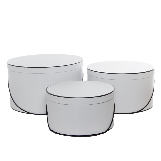 Hat Box Round Large Set 3 White Withblack Trim 40dx23 5cmh