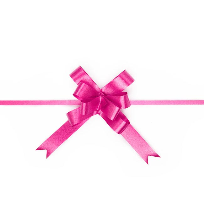 Ribbon Pull Bow 25 Pack Hot Pink (18mmx53cm)