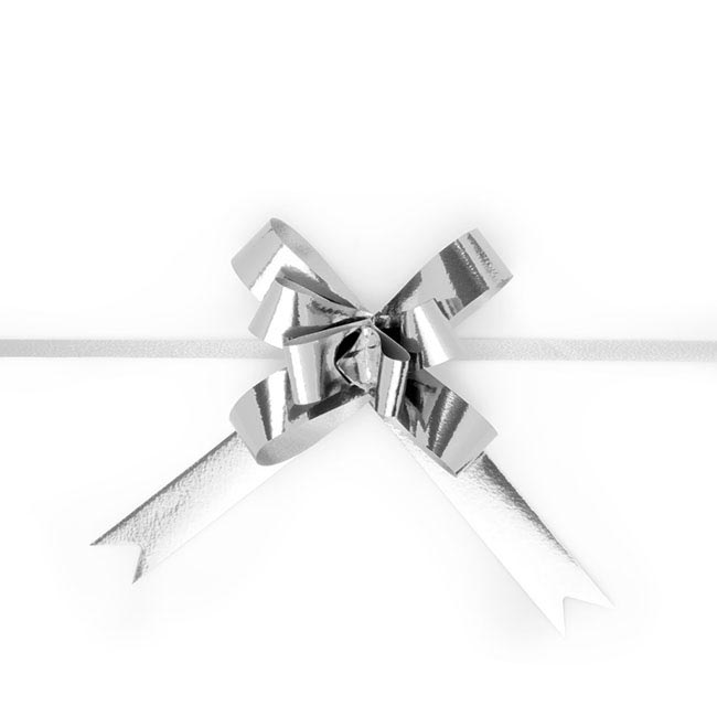 Pull Bows - Ribbon Pull Bow Metallic Silver (18mmx53cm) Pack 25