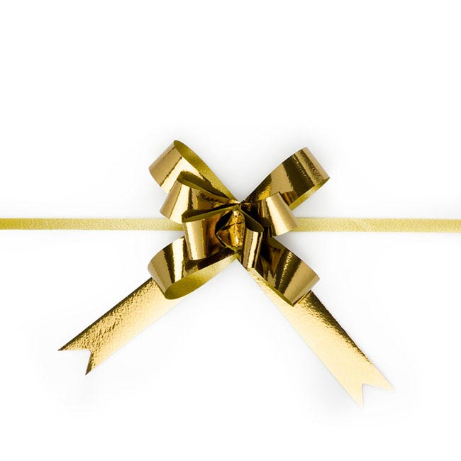 Ribbon Pull Bow Metallic Gold 25PK (18mmx53cm)