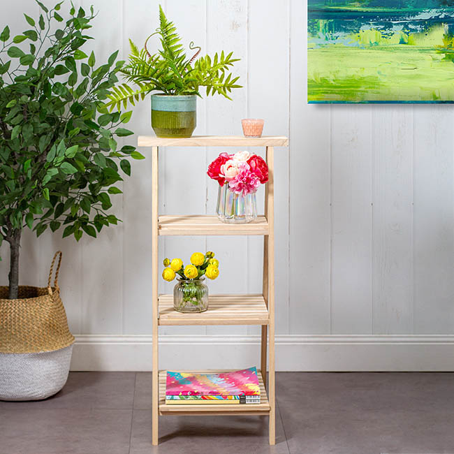 Wooden Display Stand 3 Tier Natural Timber 48x48x98cmh