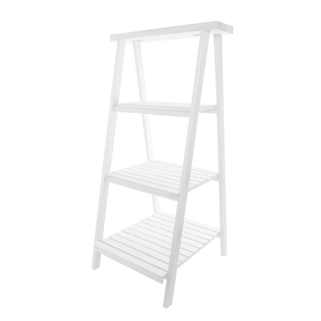 Merchandising Displays - Wooden Display Stand 3 Tier High Glossy White (48x48x98cmH)