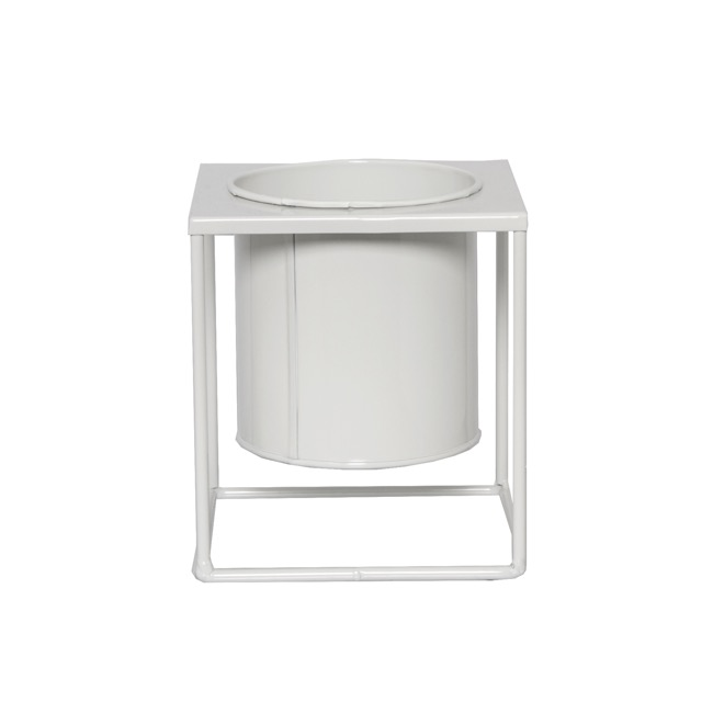 Home Decor Metal Pot Planters - Square Metal Display Stand With Pot Glossy White(13.5x15cmH)